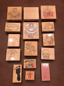 Lot Of 15 Wooden Stampin Up Misc Ink Rubber Stamps-Nice variety