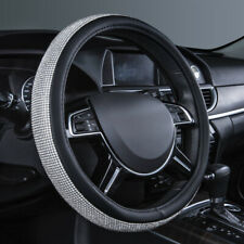 Universal Crystal Steering Wheel Cover PU Leather Bling Bling Rhinestones Silver