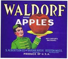 Waldorf, original apple crate label, bell boy, s albertson co