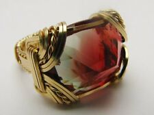 Red/Green Watermelon Andesine 14kt Gold Filled Handmad Wire Wrapped Ring