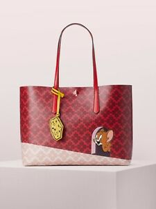 Kate Spade New York- Tom & Jerry LARGE Tote Bag Purse - RED  Authentic NWT !