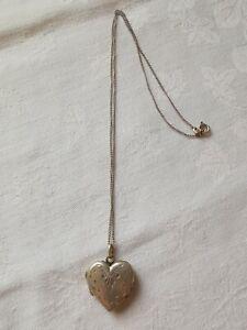 Vintage Sterling Silver Love Heart Locket Pendant Necklace