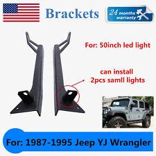 "1987-1995 Jeep YJ Wrangler Upper Lower Windshield 50'' LED Light Bar Bracket ""A"""
