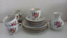 🌹 Schirnding Bavaria Kaffeeservice 5 Gedecke & Vase Blumendekor mit Goldrand 🌹