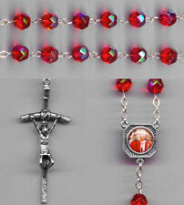 NEW - POPE JOHN PAUL II - Crystal Rosary - Red