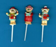6 teddy bear carol singer noël gâteau/cupcake picks décorations