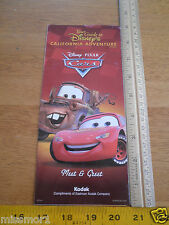 Disneyland DCA Daily activities foldout map CARS cover 2009 park guide