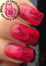 NAIL ART WRAP WATER TRANSFERS STICKERS DECALS BLACK LACE MOON CRESCENTS #122