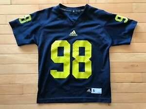 Adidas Blue Michigan Wolverines #98 Football Jersey Youth Small 8 Boys Sz
