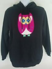 Pink Dolphin Black Pullover Hoodie Hooded Sweatshirt Size Medium Pink Owl Rare
