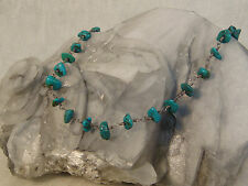 TURQUOISE STERLING NECKLACE ARTISAN HANDCRAFTED BEAD TWISTED WIRE TOOGLE CLASP