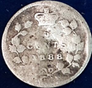 1888 Silver Canadian 5 Cents  ID #A7-23