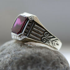c.1920 Ostby Barton 10k Ring Ruby Sapphire Two Tone Gold Art Deco Sz6