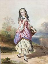 Jeune femme à la mantille aquarelle signée datée TH B 1864 à identifier ?