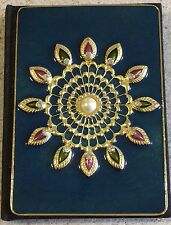 Faberge Enamel Style Crystal Hardback Notebook Peacock Desk Stationery Book
