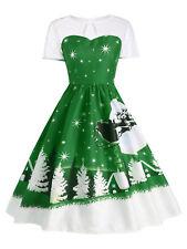 Women Swing Dress Santa Claus Deer Christmas Print Vintage Cocktail Party Dress