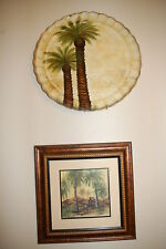 """Pair of wall decor: 13"""" exotic palm tree plate & 11"""" framed Asian monkeys Palms"""