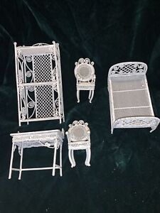 Lot of Dollhouse Miniature Furniture White Wire - 5 Piece Chair Bed Shelves Desk