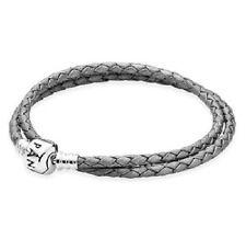 AUTHENTIC PANDORA SILVER GREY Double Leather Bracelet MEDIUM ( 590705CSG-D2)15in