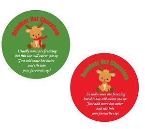 24 x Christmas Reindeer Hot Chocolate Label Sticker Xmas Cone Bags Fair Kids R23