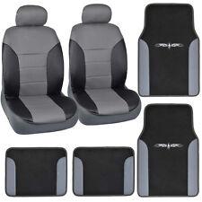 8 Piece Car SUV Van Synthetic Leather Seat Covers+Vinyl Trim Carpet Floor Mats