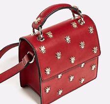 Zara Red Metallic Bug Insect Beetle Detail Cross Body Satchel Celeb Bloggers Bag
