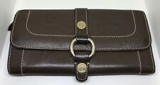 Ladies Celine Brown Leather Gold Tone Bi Fold Wallet