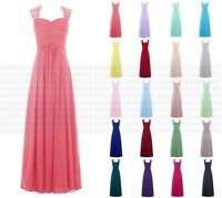New Long Chiffon Evening Formal Party Ball Gown Prom Bridesmaid Dress Size 6-18