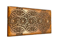 Marvelous Intricately Handcrafted Antique Sheesham Wood Storage Box Brass Finish