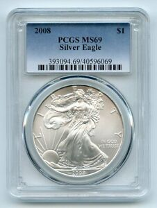 2008 $1 American Silver Eagle 1oz Dollar PCGS MS69