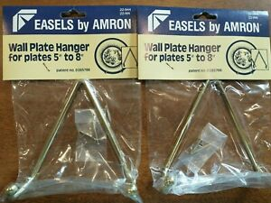 "2 Brass Wall Plate Display Hanger Complete Hanging Hook & Nail Diameter 5"" to 8"""