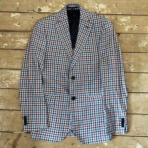 """Boggi Milano Linen Blend Jacket 36"""" EU 46 Blue Pink Gingham Blazer"""