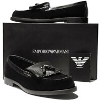 NEW Emporio Armani Black Leather Velvet Dress Tassel 10 43 Loafers Men's Shoes