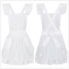 Women Kitchen Vintage Apron Plain White Cotton Ruffle Waitress Cross-Back Apron