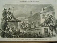 Gravure 1864 - Inondations à Bucharest Le Prince Alexandre quartier Tabaches