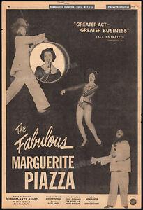 MARGUERITE PIAZZA__Original 1958 Trade AD promo / poster__theatre__Sands Hotel