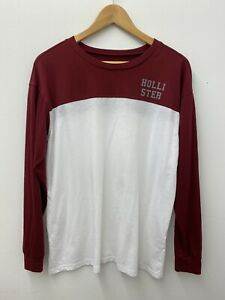 Hollister Mens Long Sleeve Maroon And White Top Size M