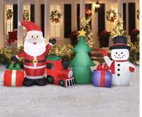 Holiday Times Gemmy 9ft Wide Christmas Scene Santa, Snowman Train Light Up