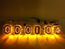 Nixie tube clock in-12 (6 tubes) yellow. Steampunk. Vintage. Fallout.