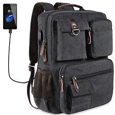 School Backpack Vintage Canvas Laptop Backpacks Men Women Bookbags with USB