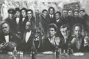 GANGSTERS - GODFATHER GOODFELLAS SOPRANOS SCARFACE Giant POSTER- 55 by 39 inches