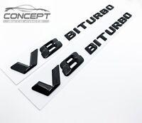For Mercedes Benz V8 BITURBO AMG Gloss Black Badge Pair Decal Fender Sides