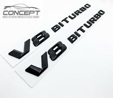 For Mercedes Benz V8 BITURBO AMG Gloss Black Badge Pair Decal Fender Sides