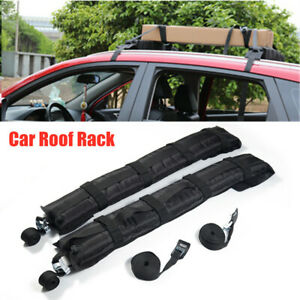 2PCS Universal Car Roof Rack Soft Self Inflatable Luggage Carrier w/ Nylon Rope