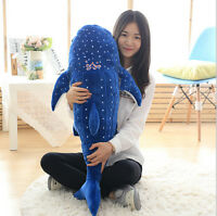 Popular Bkue Plush Toy Whale Shark Stuffed Animal Soft Plush Doll Pillow 100CM