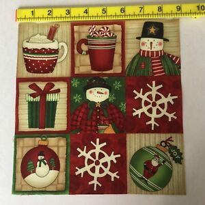 Christmas Fabric Nine Debbie Mumm  label/squares card making/bunting Rare Oop