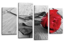 Le Reve Red Rose Canvas Grey Floral Love Flower Split 4 Panel Wall Art Set 1