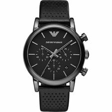 NEW EMPORIO ARMANI AR1737 MENS BLACK CHRONOGRAPH WATCH - 2 YEARS WARRANTY