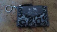 EXC  COACH  Black Silver  Metallic Ocelot Animal Print MINI SKINNY COIN PURSE