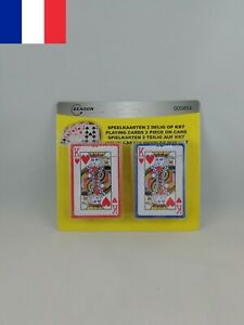 Lot de 2 Paquets de 54 Cartes à Jouer Jeu Poker Bridge Rami Bataille